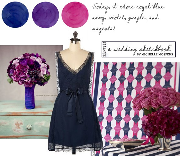 Blue pink purple wedding colors mospens studio custom Navy purple color