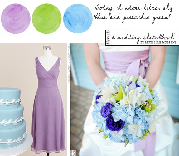 Sky Blue, Lilac and Green Wedding Colors | One-of-a-kind Hand ...
