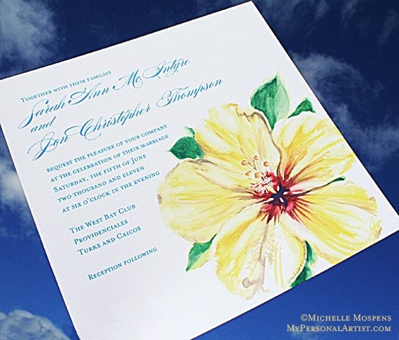 Our Yellow Watercolor Hibiscus wedding invitations