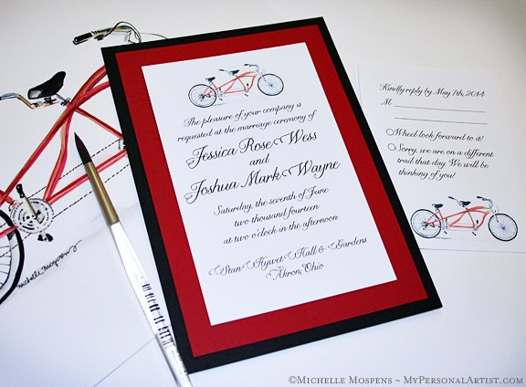 Bicycle Built for Two Wedding Invitations Watercolor Wedding
