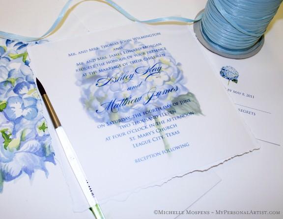 watercolor hydrangea wedding invitations elegant custom