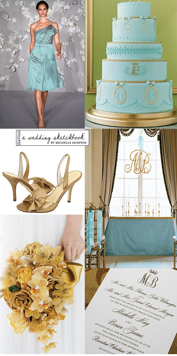 The light aqua blue and gold caught my eye Regal modern and elegant
