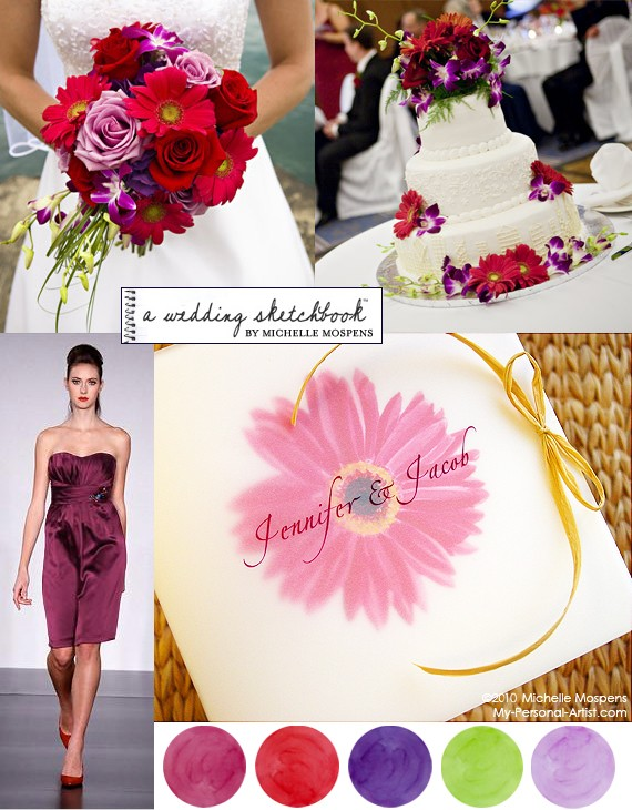 Mauve Red Purple Apple Green and Lilac Gerbera Daisy Wedding Ideas