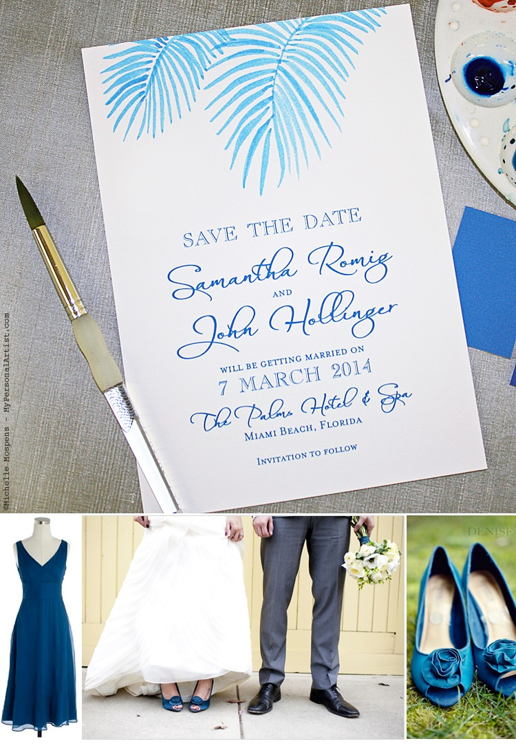 Hand Painted Custom Save the Dates for a Beach Wedding | Elegant ...