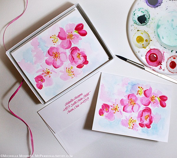 HAND PAINTED Cherry Blossoms Note Cards Each note card is ENTIRELY HAND