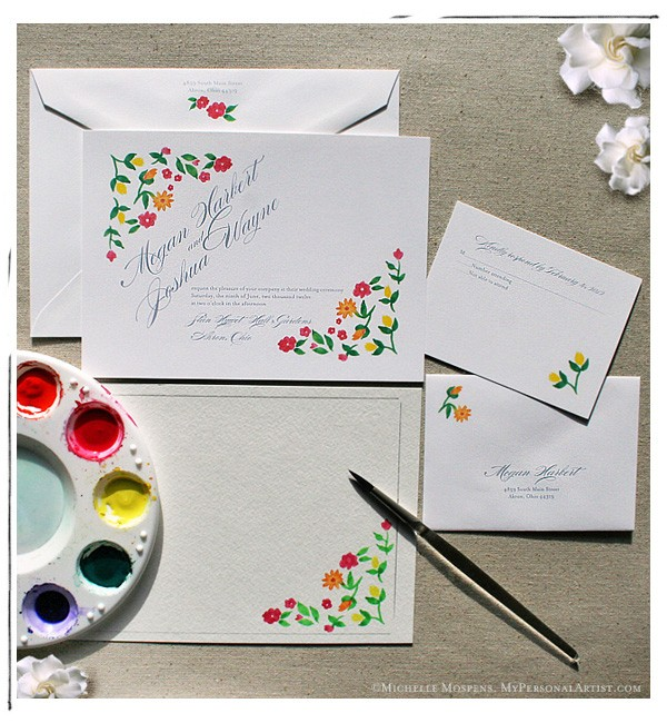 up this handpainted floral wedding invitations design for you all