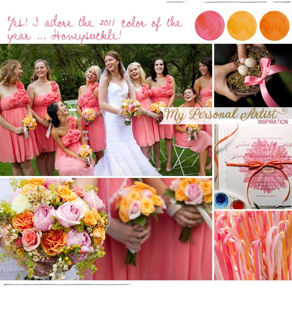 Honeyle Pink Yellow Orange Wedding Inpiration
