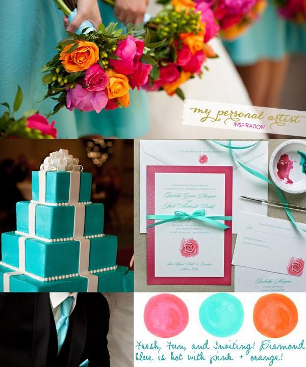 Tiffany Blue, Orange, + Pink Wedding - Custom Save the Dates ...