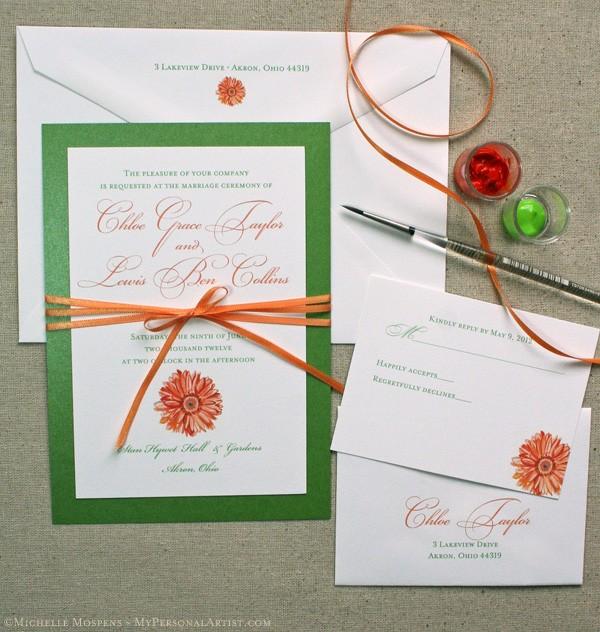 Orange Gerbera Daisy Wedding Invitations Custom Save the Dates