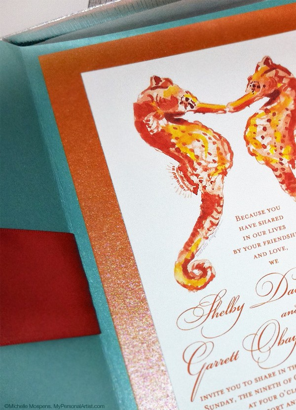 seahorses beach wedding invitations