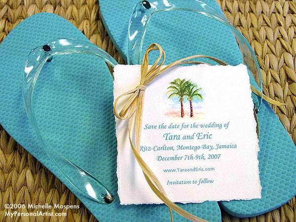 Flip Flop Beach Wedding Save The Dates Custom Save The Dates Unique Weddin