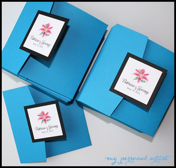 blue folder wedding invitations