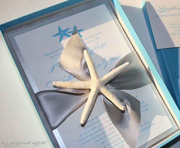Starfish Boxed Wedding Invitations