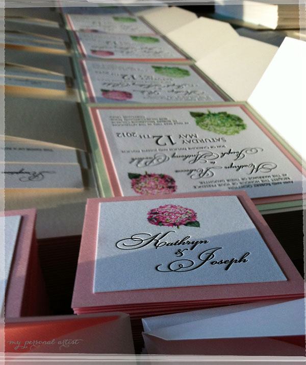 handmade hydrangea pocket folder invitations