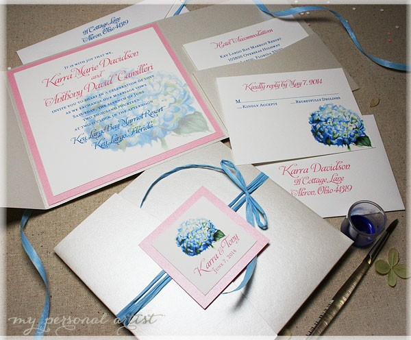 painted watercolor hydrangea folder invitations
