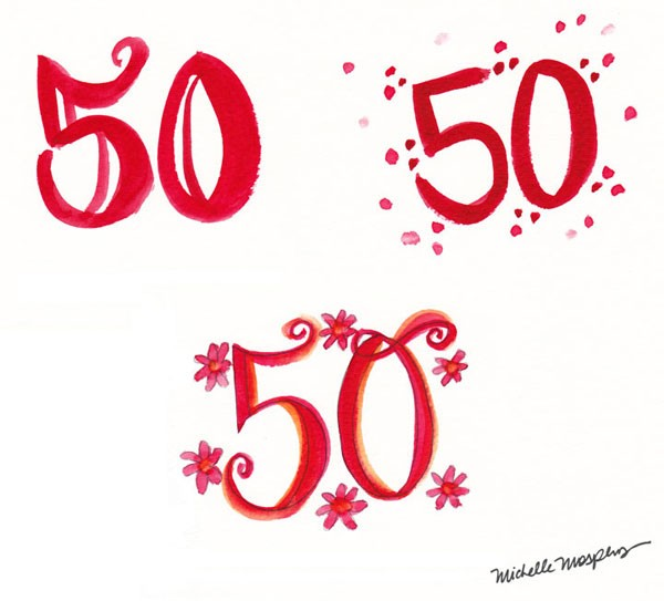 "hand-painted ""50"" for custom birthday invitations"