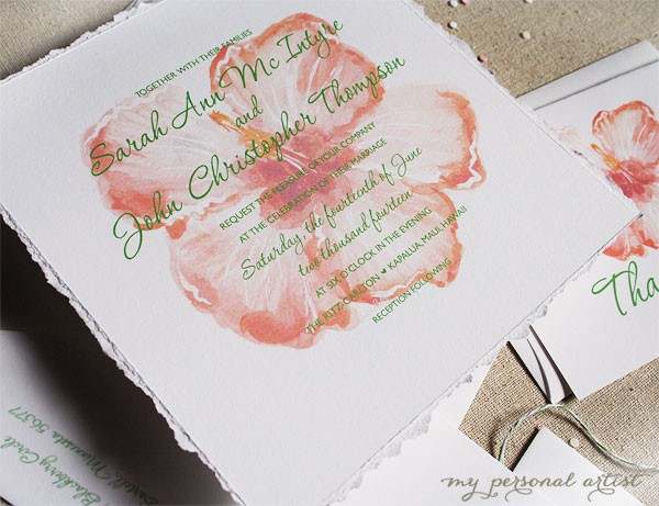 tropical orange destination wedding invitations