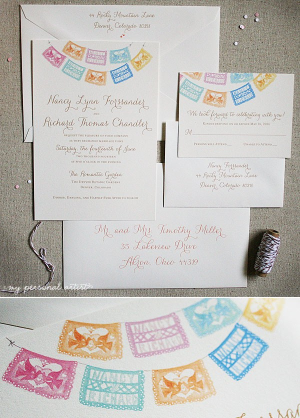 custom watercolor papel picado wedding invitations