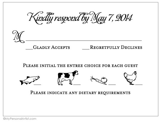 wedding response card ideas with food choice