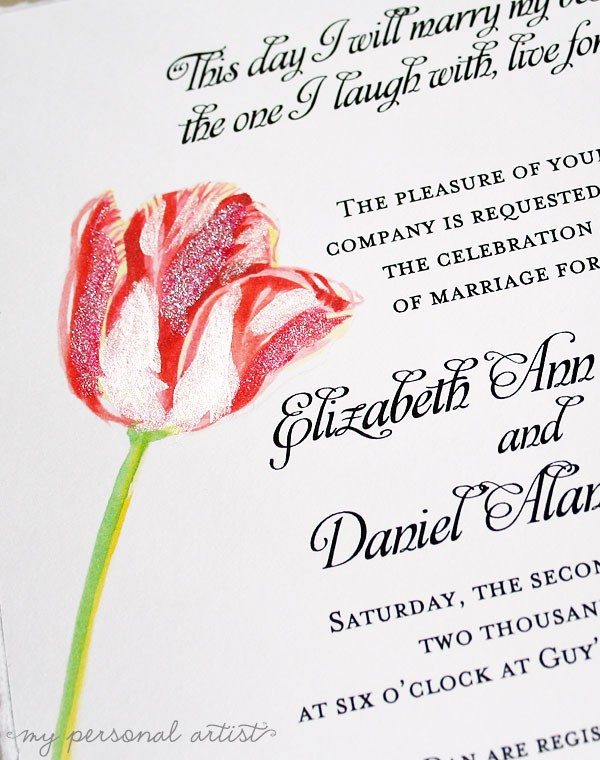 hand painted tulip wedding invitations