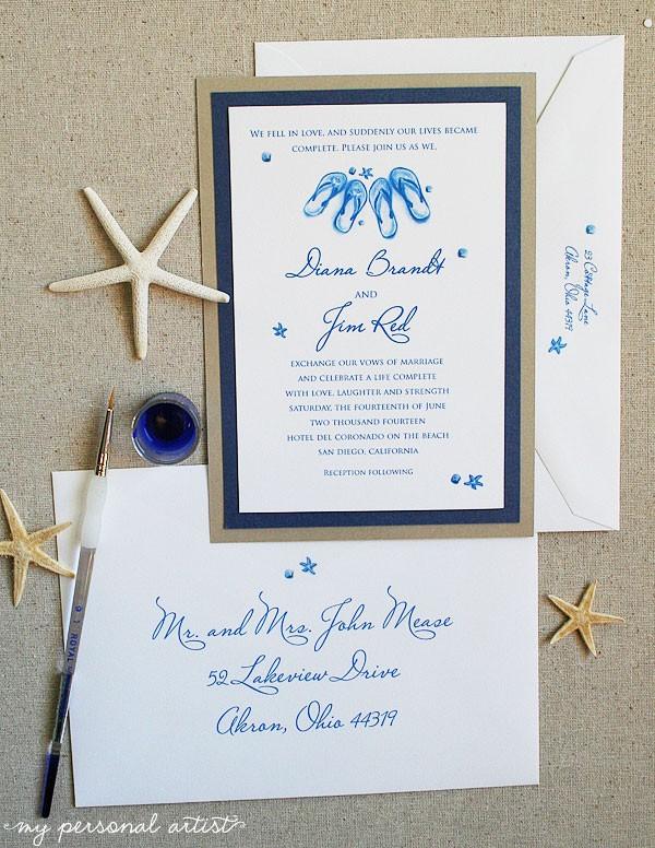 navy beach wedding invitations