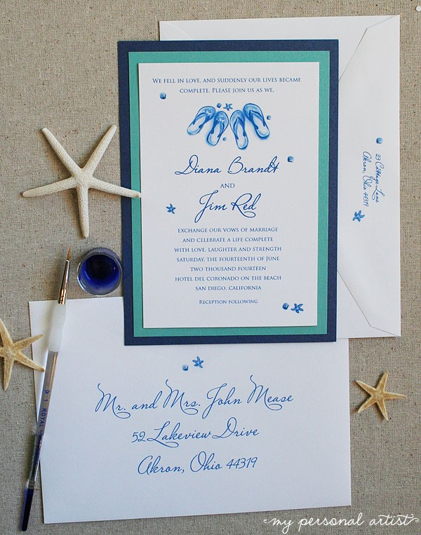 diamond blue beach wedding invitations