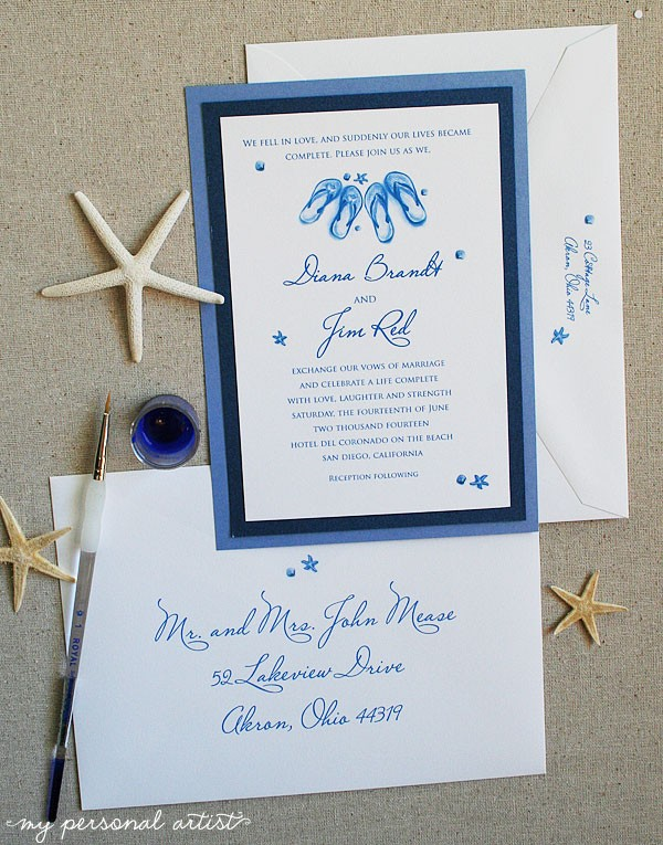 navy and blue beach wedding invitations