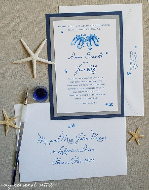 blue and silver beach wedding invitations