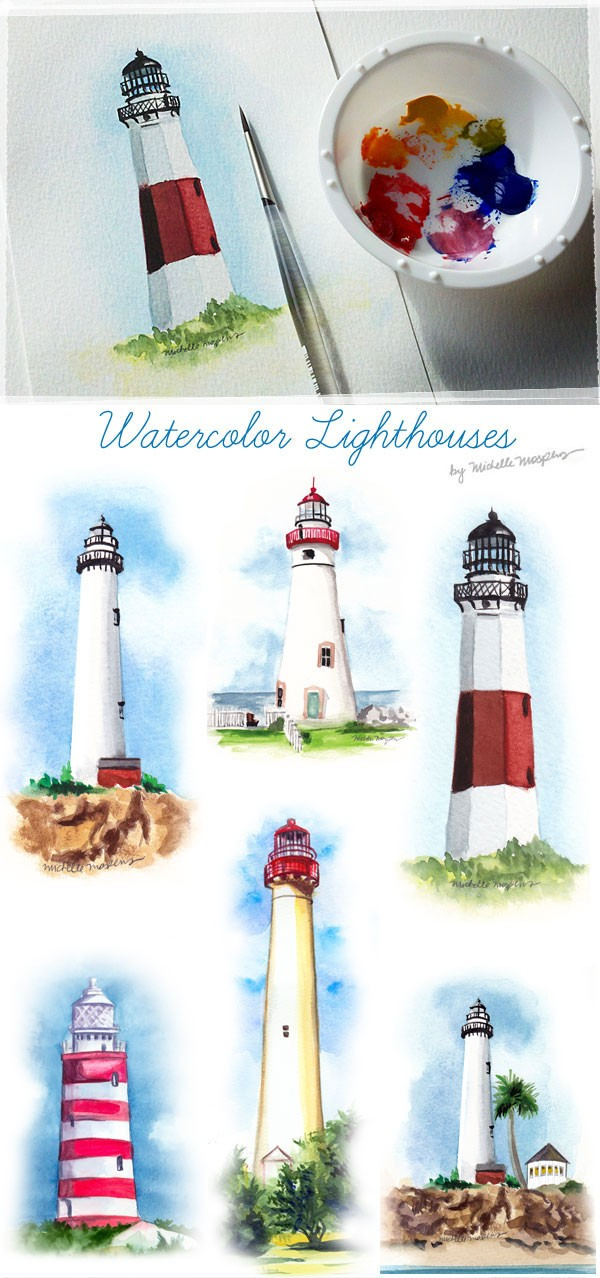 hand painted watercolor lighthouses by Michelle Mospens