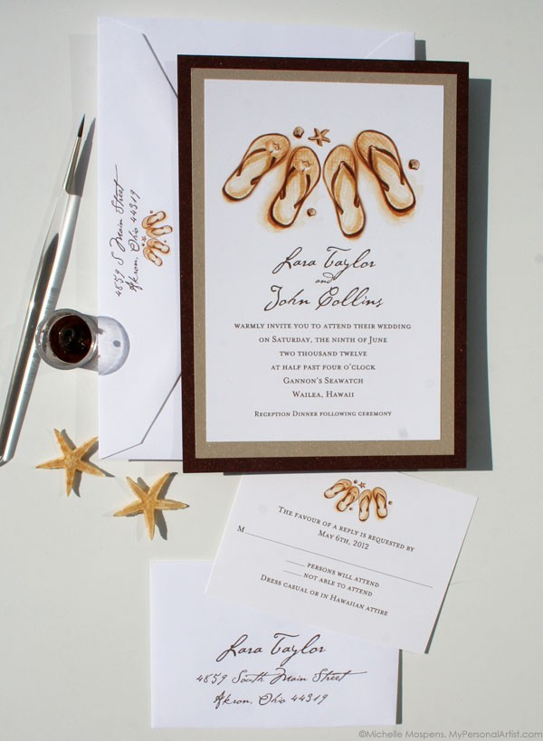 Customizing Our Layered Beach Wedding Invitations Custom Save – Handmade Beach Wedding Invitations