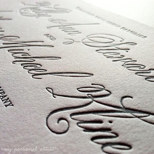 letterpress wedding invitations gray