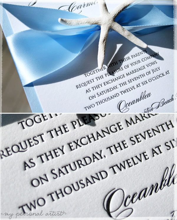 Chic beach wedding invitations Absolutely Handmade for a fabulous NYC