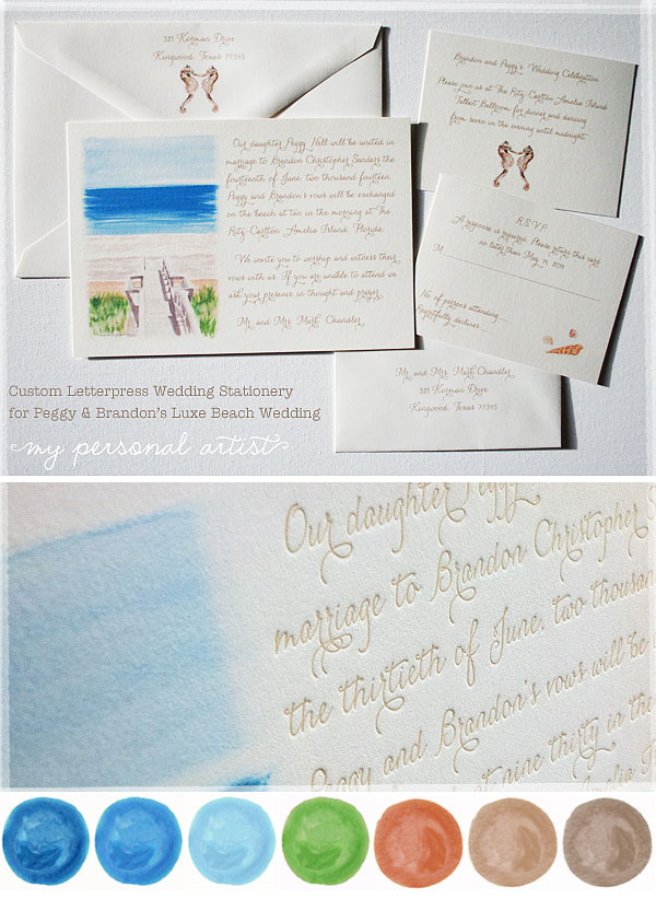 beach wedding invitations with watercolor artwork