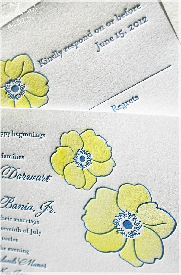 hand painted letterpress invitations