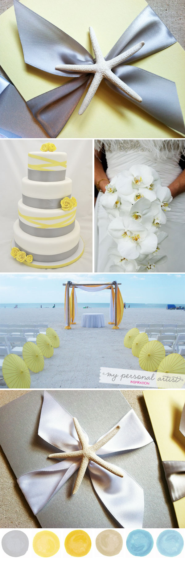 beach wedding ideas yellow and gray