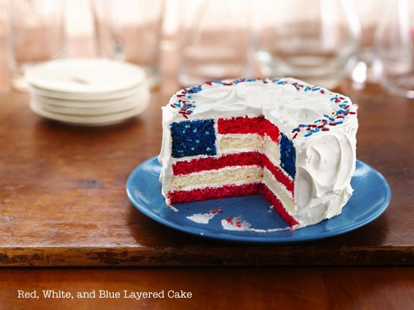 red white blue layered flag cake
