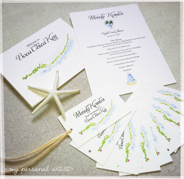 unique beach wedding place cards, menus, and table cards