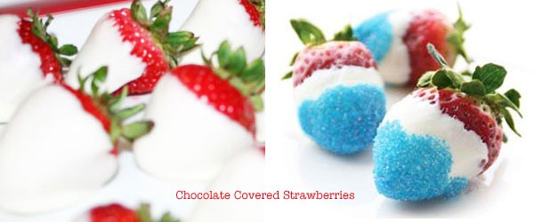 July 4th white chocolate covered strawberries