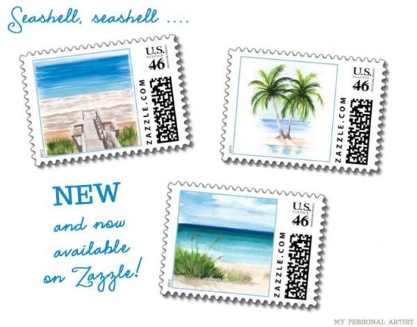 Beach Theme Wedding Postage Stamps